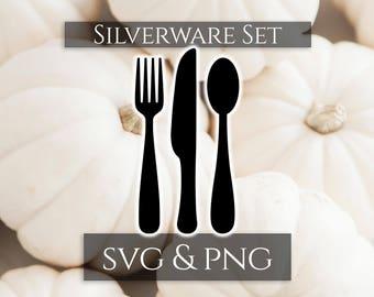 Silverware Svg Set, Silverware Bundle, Kitchen Utensils, Kitchen Tool Svg, Kitchen Svg and Png, Farmhouse Svgs, Kitchen Decor Svg
