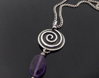 Sterling Silver Spiral Necklace with Amethyst, spiral necklace, amethyst necklace, spiral pendant, silver wire pendant, silver wire necklace