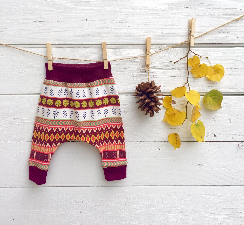Boho Baby Harem Pants, Knit Baby Leggings, Floral Baby Pants ...