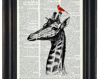 GIRAFFE Art Print Giraffe and Cardinal Print Art Print Giraffe with Cardinal Friend on Vintage Dictionary Book Page 8 x 10
