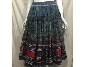 Vintage tribal Hmong hemp embroidered batik skirt in the north of Vietnam