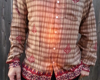 Long Sleeve, Fully Lined Men's Handmade Sari Material Button Down Dress Shirt - Tan Plaid with Burgundy Accents - Landon H855