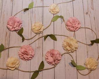 Large Carnation felt Flower Garland