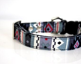 Southwestern Striped Dog Collar - gray,red - Silver