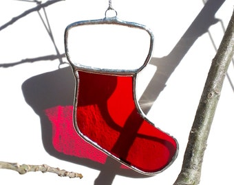 Christmas Ornament Red Stained Glass Stocking Ornament Christmas Gift Stocking Stuffer Holiday Decor Glass Ornament Christmas Decoration