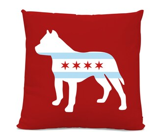 Chicago Flag Pitbull Pillow - Chicago Home Decor - Pitbull pillow - dog breed silhouette pillow - dog home decor - Pitbull home decor