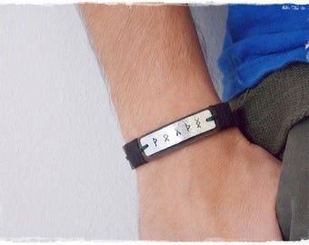 Leather Runic Bracelet, Viking Runes Bracelet, Men's Leather Bracelet, Nordic Bracelet, Norse Viking Bracelet, Wiccan Bracelet Cuff