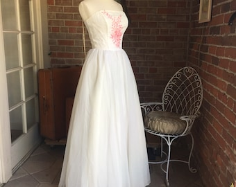 White Strapless Gown with Pink Embroidery
