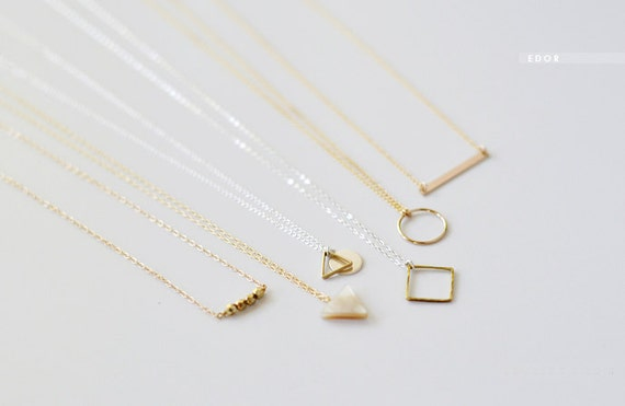jewellery necklace disc product minimal gold geometric solid hopscotch category