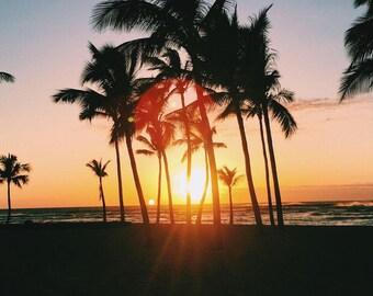 Hawaiian Sunset Silhouette - Beach Photography - Hawaii