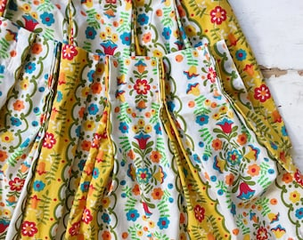 Retro Flower Power Curtains Pair Of Mod Yellow Fl Cafe Ds