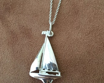 Silver Sail Boat Necklace- Nautical Pendant- Nautical Necklace-  Ship Necklace -Sea Pendant- Yacht  Necklace- Sailboat Cham Necklace