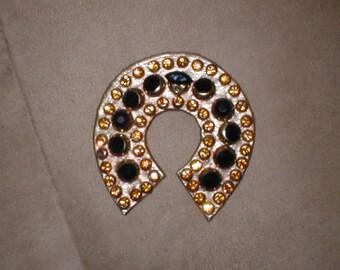 Vintage Rhinestone on Leather Brooch Pin