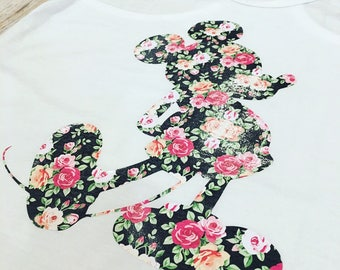 Mickey Minnie Mouse Inspired Disney Floral Silhouette Iron One Tee Tank Onesie