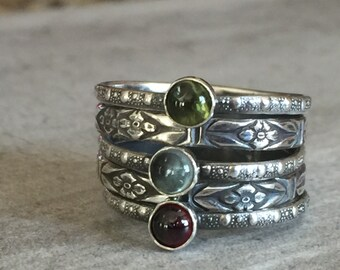 Boho Stackable sterling silver gemstone set of five
