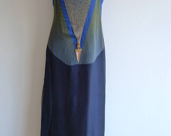 Exquisite Art Deco style silk slip dress with beads and ribbons