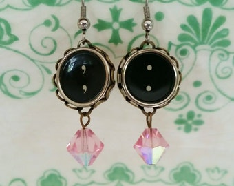 Pink Antique Typewriter Key Jewelry, Black Punctuation Dangle Earrings, Period Symbol, Comma Symbol  Earrings, Antique Pink Crystal Beads