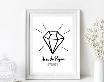 Engagement/Wedding/Anniversary/Diamond Personalised Print/Gift