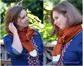 Knitting Pattern - Red Foxy Scarf (One size)