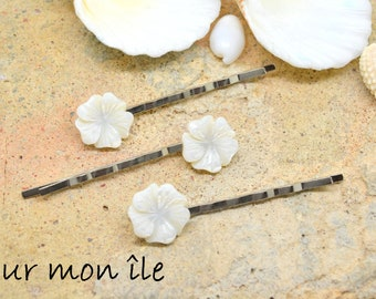 mother of Pearl flower hair Bobby pin
