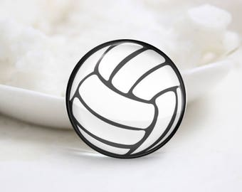 volleyball Photo Glass Cabochons (P3849)
