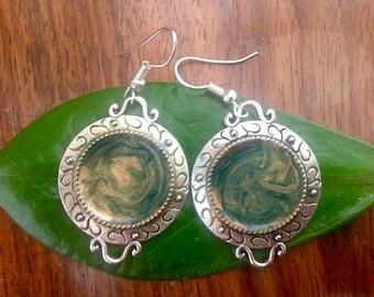 Unique green yellow earrings style Bohemian gemstone