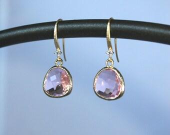 Faceted pink briolette earrings