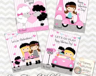 Paris Valentine cards for girls * Kids Valentines Day cards * DIY printable valentines * Pink Poodle Valentines, personalization extra