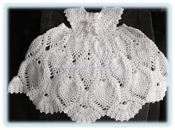 Baby Crochet Pattern Childs Lacy Pineapple Dress
