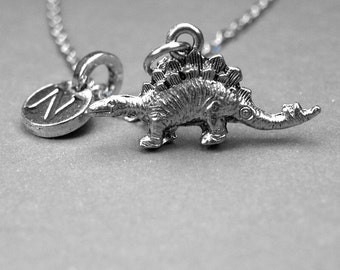 Stegosaurus Necklace, Dinosaur Necklace, Personalized Jewelry, initial necklace, monogram letter, antiqued, silver pewter, initial jewelry