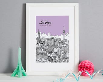 Personalised Las Vegas Print | First Anniversary Gift | Custom Wedding Gift | Unique Engagement Gift | Travel Related Gift | Honeymoon Gift