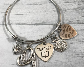 Teacher Bracelet, Teacher Aide Gift, Teacher Christmas Gift, Teacher Appreciation Gift, Teacher Bangle Bracelet, Initial Charm, Best Teacher