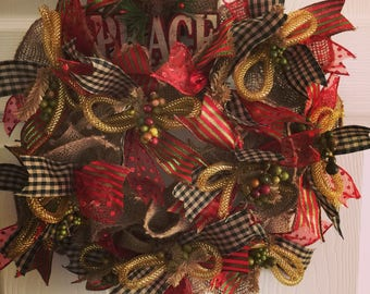 """Burlap Deco Mesh Wreath 18""""x18"""" Ribbons and Deco Tubing Bows.Peace sign. Apartment size. Front  Door Wreath. Holiday Wreath."""