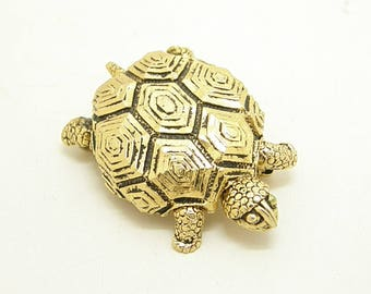 Turtle Perfume Brooch With Perfume Cake Antiqued Gold Tone Figural teamvintageusa ecochic team