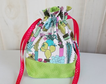 Sock Project Bag: Cacti and Succulents