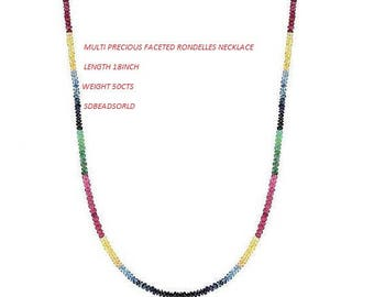 Multi-sapphire, Precious, Faceted Rondelles, Beads Multi-sapphire beads ( Ruby, Emerald & Sapphire), Necklace