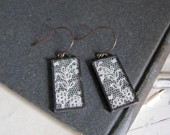 Vintage Lace Jewelry Long Dangle Earrings