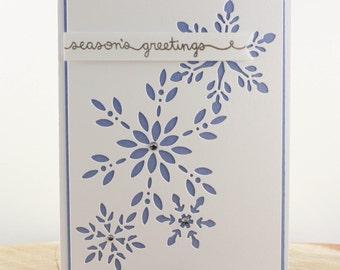 Handmade Christmas Card, Season's Greeting Card,  Unique Christmas Card, Elegant Holiday Card, Snowflake Christmas Card