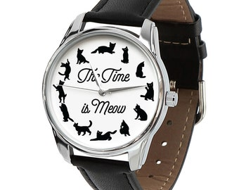 The Time Is Meow Watch - Different Color Straps | Cat Lover Gift Watch