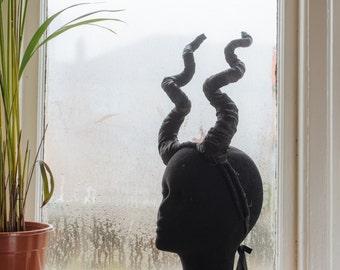 All Black Alien Empress Horn Headdress for Clubs, Dress-up, Festival Fashion