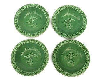 French Art Deco Ceramic Cereal Bowls with Cherries. Stamped J Pobery 46.