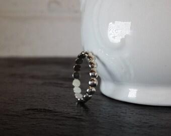 Sterling Silver Dot Ring - Half Bead Ring