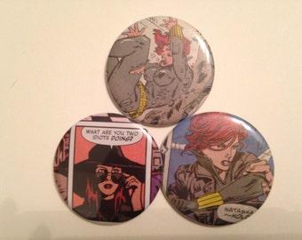 Black Widow/Natasha Romanoff Comic Book Button 3 pack
