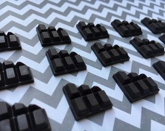 10pc. Miniature Chocolate Bar Halves, Flatback Rubber Cabochon, So Kawaii!