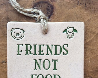 FRIENDS NOT FOOD, handmade hanging ceramic plaque, lovely gift