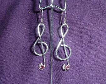 Pink Tourmaline Treble Clef Earrings