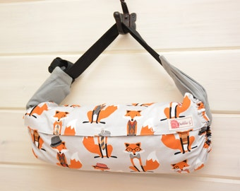 Baby Carrier Cover (Reversible) Light Gray Foxy/ Gray Pinhead Dots or Bow Ties in Black  (Foxy) Tula/Ergo/Kinderpack/Beco/Boba