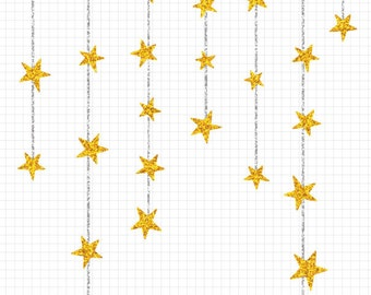 Dangling Gold Star Clipart, Gold Glitter Clip Art, Commercial Use Instant Digital Download
