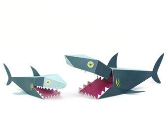 Maxi Shark Paper Toys - DIY Paper Craft Kit - 3D Paper Animals - Kids Shark - 3D Model Paper Figure