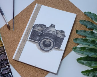 Appareil photo aquarelle carnet de notes à la main, couverture rigide journal, Illustration, carnet, carnet de croquis, journal intime, cadeau, 21 × 14.8